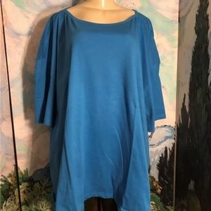 Woman Within Plus Blue Short Sleeve Tunic Top